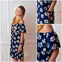 Платье 786  принт цветок на синем 40