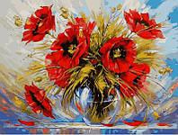 Картина раскраска по номерам на холсте 40*50см Babylon VP540 Маки в стеклянной вазе