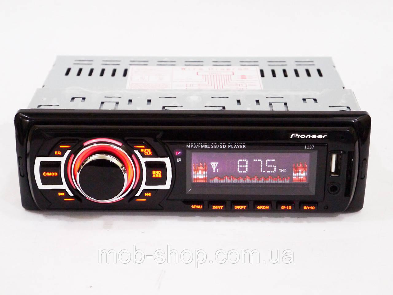 Автомагнитола пионер Pioneer 1137 MP3+Usb+Sd+Fm+Aux+пульт (4x50W)