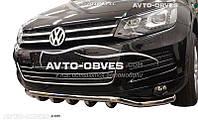 Защита переднего бампера Volkswagen Touareg прямой ус одинарный с грилем