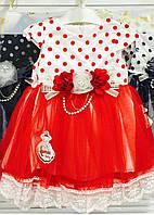 Платье горох красное 1-3 года Турция
