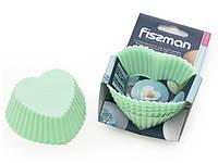 Набор из 6 формочек для кексов Fissman 7х3.3см, цвет АКВАМАРИН (силикон)