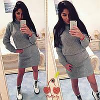 Женский вязаный костюм юбка+ свитер с горлом