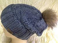 Шапочка на флисе с помпоном из меха цвет  джинс, фото 1