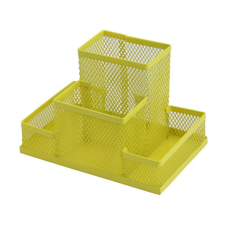 Подставка канцелярская металл сетка желтая 150x100x100мм ZiBi ZB.3116-08