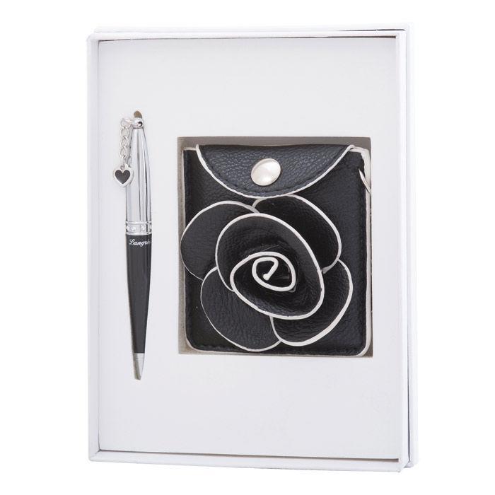 Ручки в наборе Langres Floret 1шт + зеркальце + кошелек для монет, черный LS.122037-01