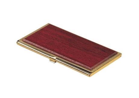 Визитница BESTAR для своих визиток горизонтальная красное дерево + металл 1327WDM