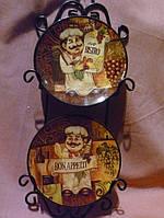 Тарелки керамические с изображением повара набор с подставкой на стену 11см диаметр