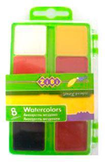 Краски акварельные 8 цв. ZiBi пласт/уп б/к 6519-15