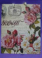 """Бумажный пакет винтажный """"Розы"""" 23 х 18 х 10"""