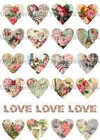 Печать съедобного фото - А4 - Вафельная бумага - Сердечки №1