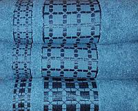 Полотенце махровое  Клетка (бирюза)