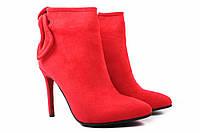 Ботинки женские Stefaniya nina эко-замш, цвет красный (ботильоны, каблук шпилька, весна\осень)