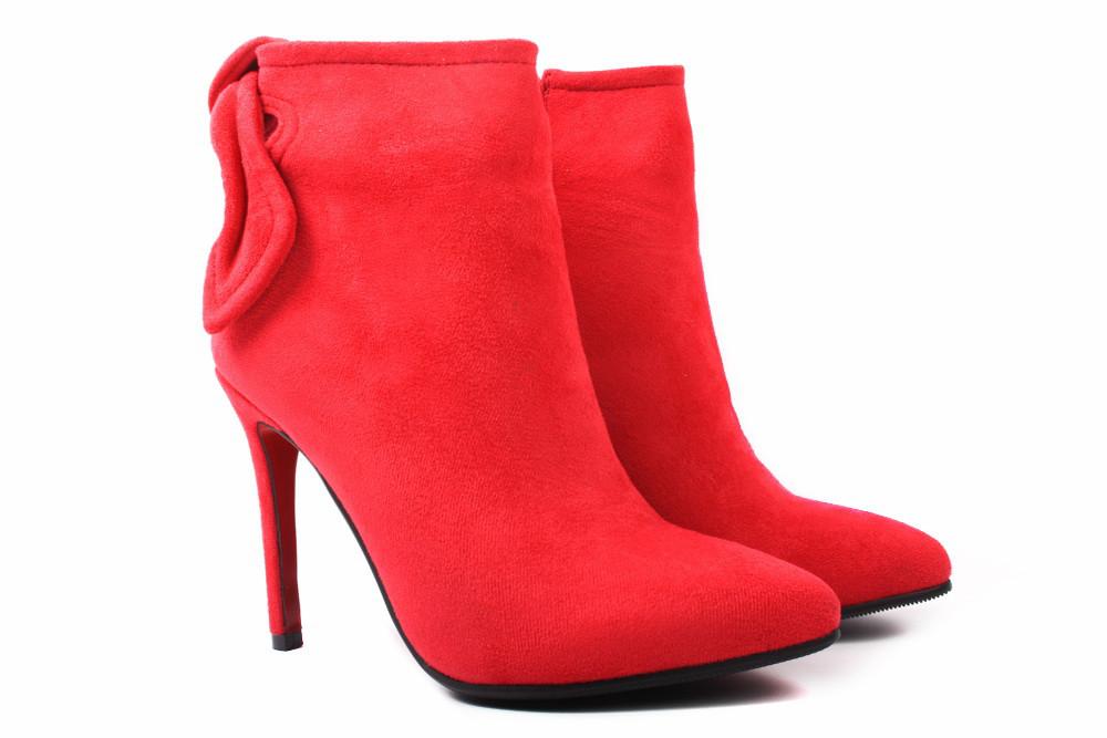 Ботинки женские Stefaniya nina эко-замш, цвет красный (ботильоны, каблук  шпилька, 8ae6c83c2e3