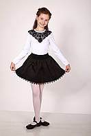 Блуза  белая  с черным кружевом, фото 1