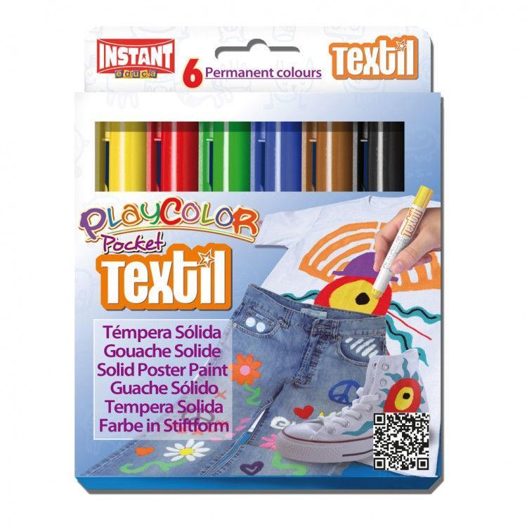 Краска выдвижная в виде мелка INSTANT Playcolor pocet textil набор 6цв. 10501