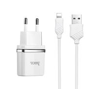 Зарядное устройство Hoco С12 Charger 2.4A 2USB with Lightning Cable White