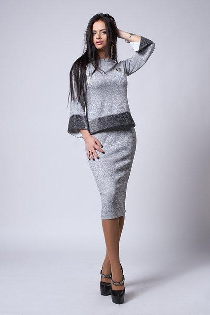 Женский приталенный трикотажный костюм с люрексом, юбка+кофта, 44,46