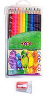 Карандаши цветные 12цв. с точилкой и пеналом ZiBi Smooth ZB.2408