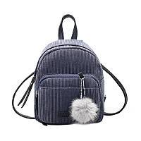 Женский вельветовый рюкзак серого цвета, фото 1