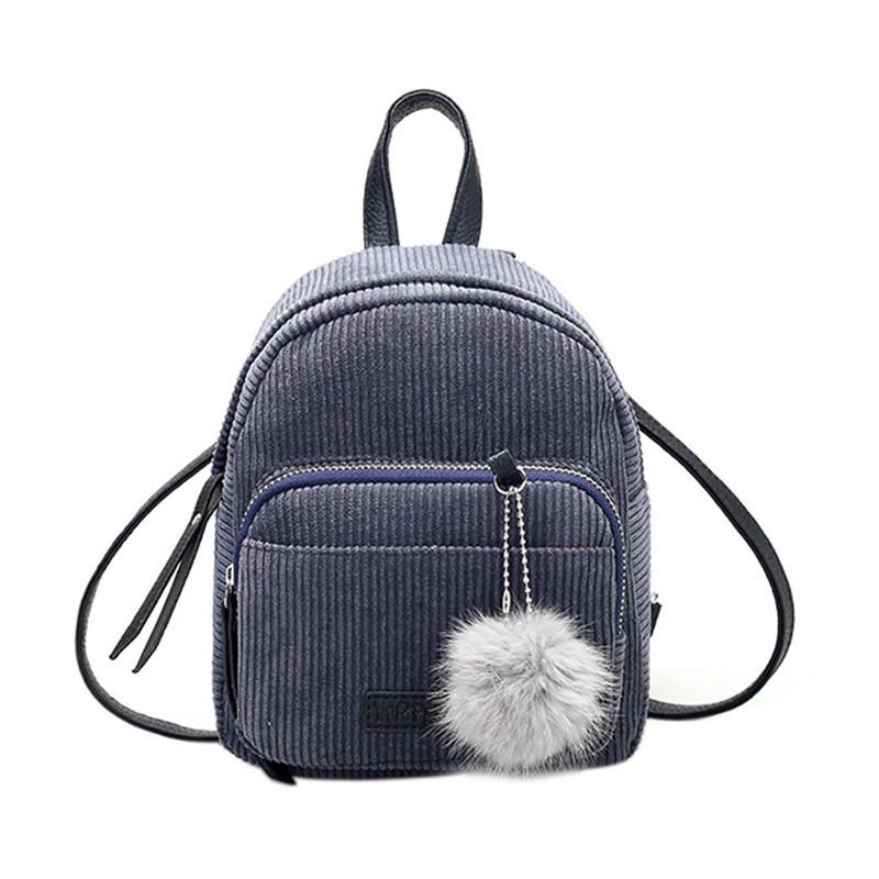 Женский вельветовый рюкзак серого цвета