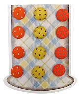 Пуговицы Rosa Talent тканевые самокл. Набор 12шт 16мм Точка, оранжевые оттенки BU1314