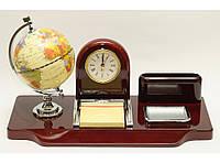 Настольный офисный набор с глобусом и часами