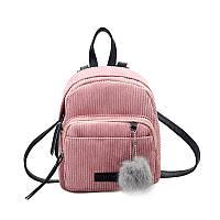 Женский вельветовый рюкзак розового цвета