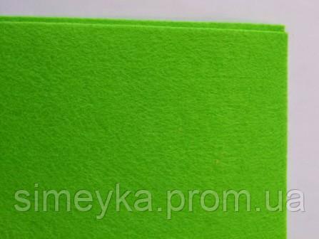 Фетр для рукоділля листовий, 1 лист 40 * 50 см, жорсткий, товщина 1 мм; зелений горох