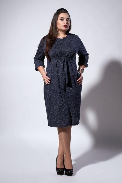 Стильное теплое трикотажное женское платье с люрексом, 52