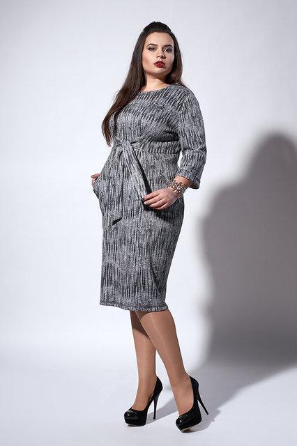 Стильное теплое трикотажное женское платье с люрексом, 54,56,58