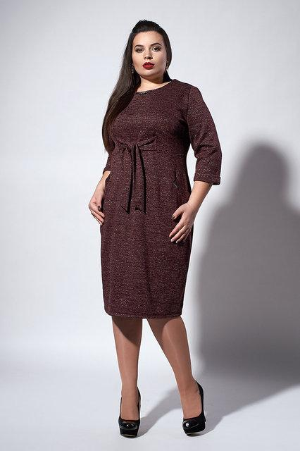 Стильное теплое трикотажное женское платье с люрексом, 52-54