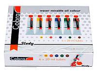 Краски масляные RoyalTalens водорастворимые набор 6цв. по 20мл Cobra Study 25820406