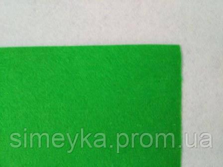 Фетр для рукоділля листовий, 1 лист 40 * 50 см, жорсткий, товщина 1 мм; яскраво-зелений