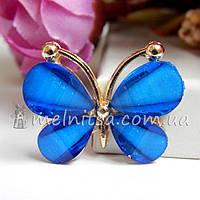 Стразовый декор - бабочка 3х2,3 см, синий