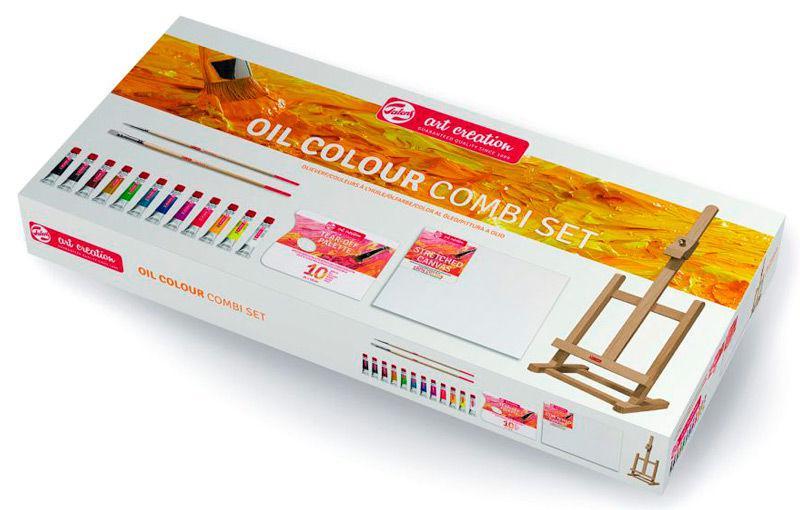 Краски масляные ArtCreation набор 12цв. 12мл+2 кисти, палитра, полотно, мольберт 52см 9010113M