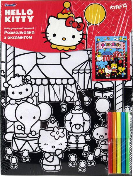 Картина раскраска с контурами на картоне KITE 28*38см Hello Kitty с бархатом HK14-156K