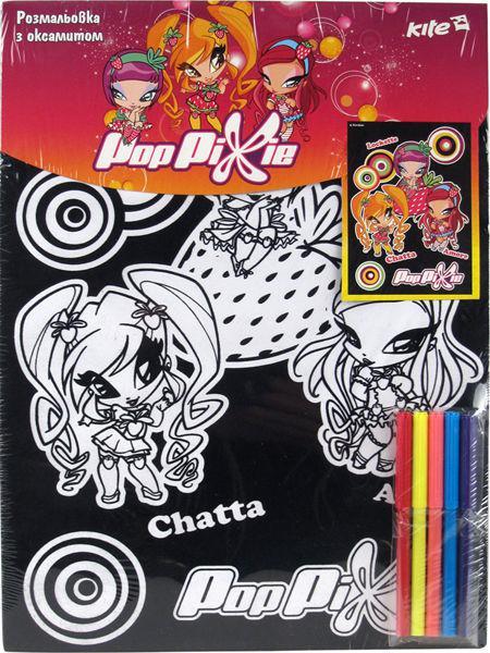 Картина раскраска с контурами на картоне KITE 28*38см Pop Pixie с бархатом PP14-156K