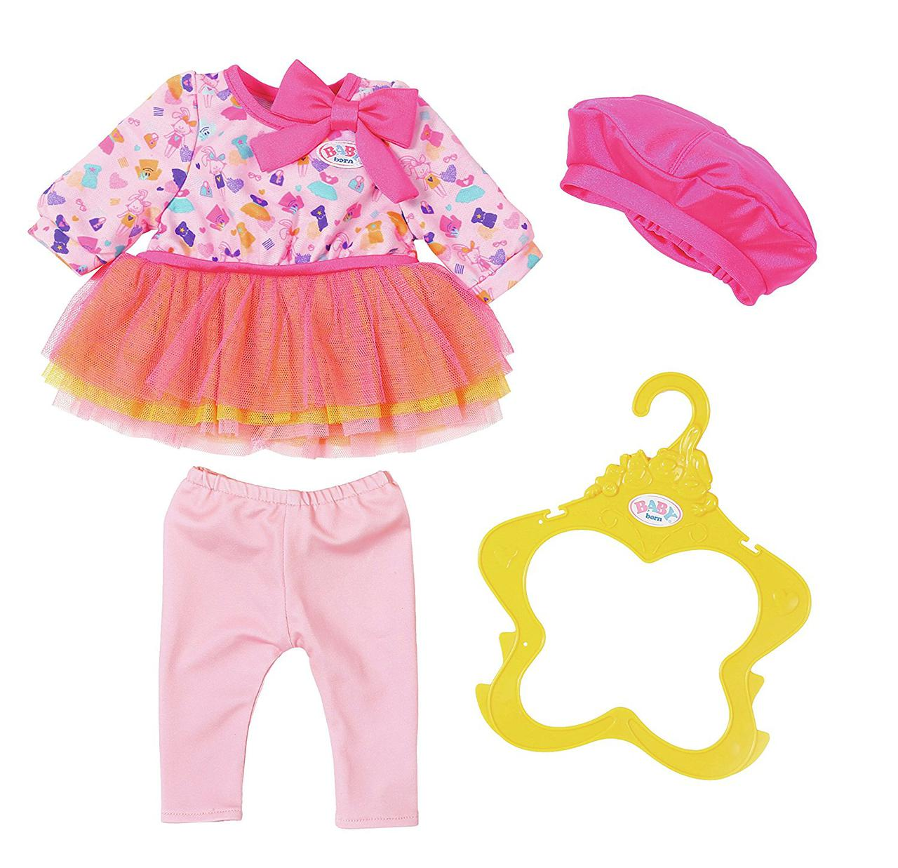 Одежда для кукол Беби Борн комплект модный стиль розовый Baby Born Fashion Collection Zapf Creation 824528