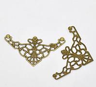 Уголки декоративные, бронза 35*35мм 4шт в наборе