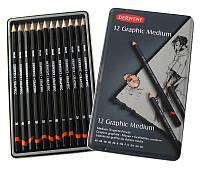 Карандаши чернографитные простые набор Derwent Graphic Designer Medium 12 штук в металлической коробке D-34214