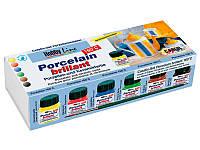 Набор для росписи фарфора и керамики KREUL Hobby Line Porzellan Brilliant (обжиг 160*) 6шт по 20мл + кисть KR-16600