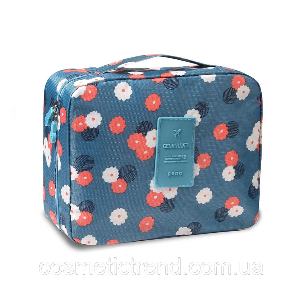 Косметичка/несесер жіноча дорожня Trevel Season Bag Floralblue 22*17*8 см