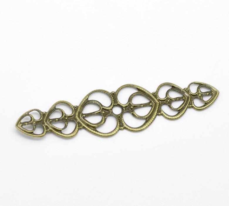 Коннектор металический, бронза  5,3см 4шт в наборе