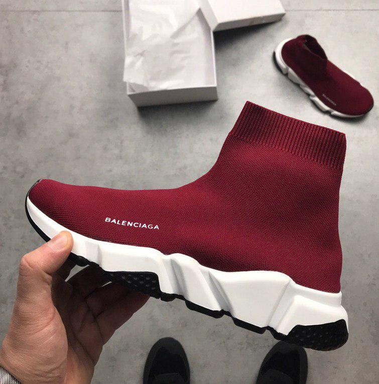 Женские и мужские кроссовки Balenciaga Speed Trainer Sock Wine Red