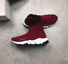 Женские и мужские кроссовки Balenciaga Speed Trainer Sock Wine Red, фото 3