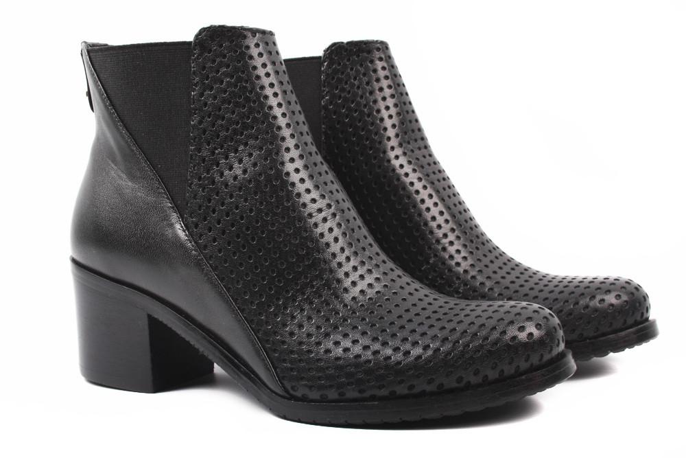Ботинки женские Stillo натуральная кожа, цвет черный (ботильоны, каблук, весна\осень, Польша)