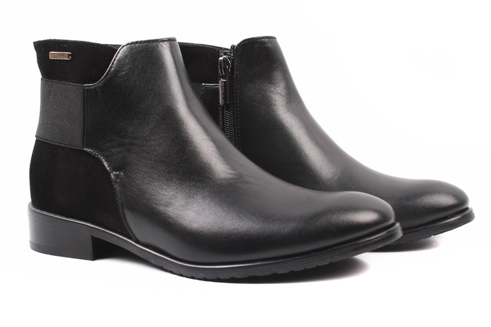 Ботинки женские Stillo натуральная кожа, замш, цвет черный (ботильоны, каблук, весна\осень, Польша)