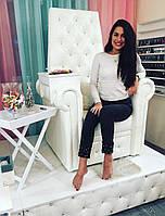 Кресло педикюрное для салона красоты на гидравлике Трон Ice Queen