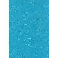 Фетр поделочный (полиэстер) 180г/м2 21,5*28см Rosa Talent EB010 ембосинг Голубой, Мишка на луне